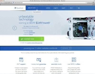 Bluehost Web Hosting Homepage