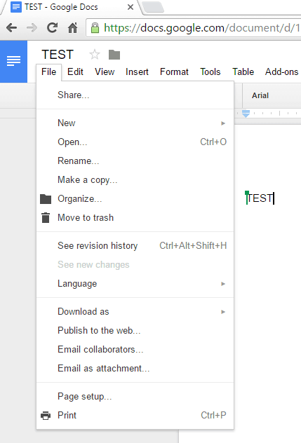 how to save or export a google docs file
