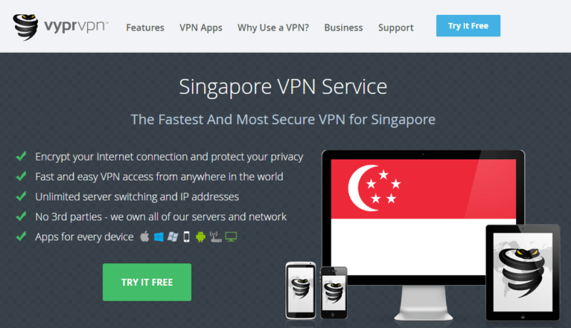 VyprVPN SIngapore homepage