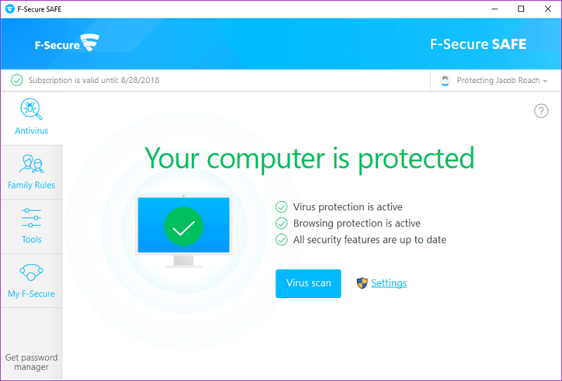 F-Secure interface